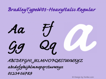BradleyTypeW01-HeavyItalic Regular Version 1.02 Font Sample
