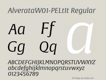 AlverataW01-PELtIt Regular Version 1.00 Font Sample