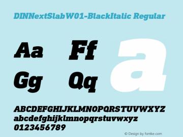 DINNextSlabW01-BlackItalic Regular Version 1.00 Font Sample