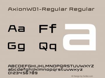 AxionW01-Regular Regular Version 1.00 Font Sample