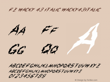 FZ WACKY 43 ITALIC WACKY43ITALIC Version 1.000 Font Sample