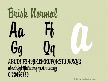 Brisk Normal Altsys Fontographer 4.1 1/30/95 Font Sample