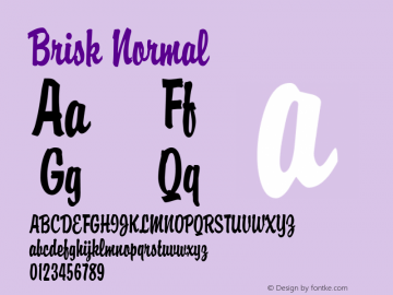 Brisk Normal Altsys Fontographer 4.1 11/1/95 Font Sample