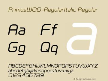 PrimusW00-RegularItalic Regular Version 1.10 Font Sample