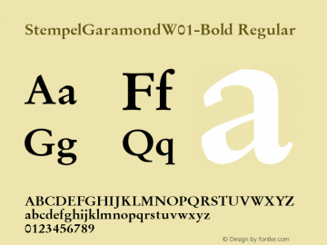StempelGaramondW01-Bold Regular Version 1.00 Font Sample