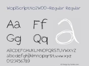 WopiScriptNo2W00-Regular Regular Version 1.00 Font Sample
