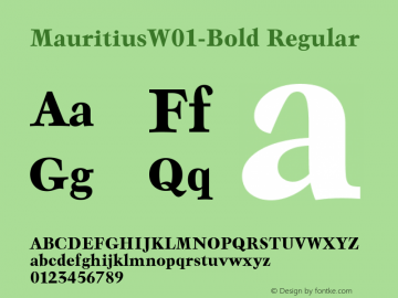 MauritiusW01-Bold Regular Version 1.00 Font Sample