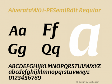 AlverataW01-PESemiBdIt Regular Version 1.00图片样张