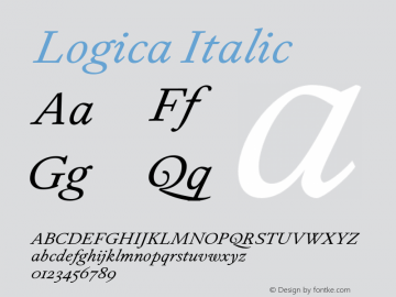 Logica Italic Version 1.000;PS 001.000;hotconv 1.0.88;makeotf.lib2.5.64775 Font Sample
