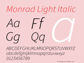 Monrad Light Italic Version 1.065;PS Version 2.0;hotconv 1.0.78;makeotf.lib2.5.61930 Font Sample
