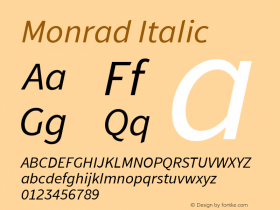 Monrad Italic Version 1.065;PS Version 2.0;hotconv 1.0.78;makeotf.lib2.5.61930 Font Sample