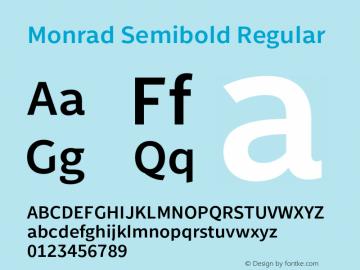 Monrad Semibold Regular Version 2.010;PS Version 2.0;hotconv 1.0.78;makeotf.lib2.5.61930图片样张