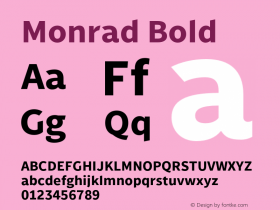 Monrad Bold Version 2.010;PS Version 2.0;hotconv 1.0.78;makeotf.lib2.5.61930 Font Sample