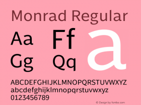 Monrad Regular Version 2.010;PS Version 2.0;hotconv 1.0.78;makeotf.lib2.5.61930 Font Sample