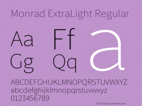 Monrad ExtraLight Regular Version 2.010;PS Version 2.0;hotconv 1.0.78;makeotf.lib2.5.61930图片样张