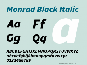 Monrad Black Italic Version 1.065;PS Version 2.0;hotconv 1.0.78;makeotf.lib2.5.61930图片样张