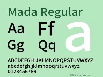 Mada Regular Version 001.004 ; ttfautohint (v1.5.33-1714) -l 8 -r 50 -G 200 -x 0 -D latn -f arab -w G -W -c -X