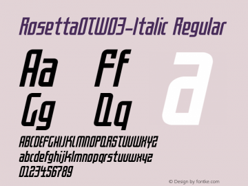 RosettaOTW03-Italic Regular Version 7.504 Font Sample