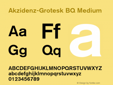 Akzidenz-Grotesk BQ Medium 001.001 Font Sample
