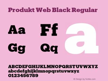Produkt Web Black Regular Version 1.1 2014 Font Sample