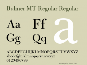 Bulmer MT Regular Regular Version 1.00 Font Sample