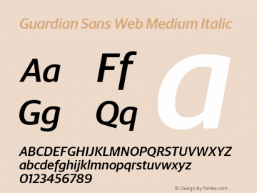 Guardian Sans Web Medium Italic Version 001.002 2009图片样张