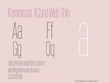 Kommissar XCond Web Thin Version 1.1 2011 Font Sample